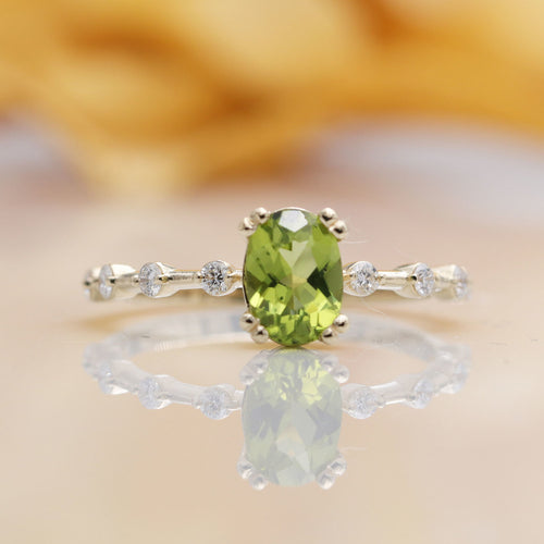 14kt Gold Oval Green Peridot Diamond Classic Engagement Ring ,[product vendor],JewelStreet