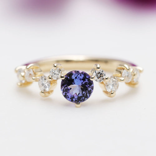 14kt Gold & Round Tanzanite Diamond Engagement Ring ,[product vendor],JewelStreet