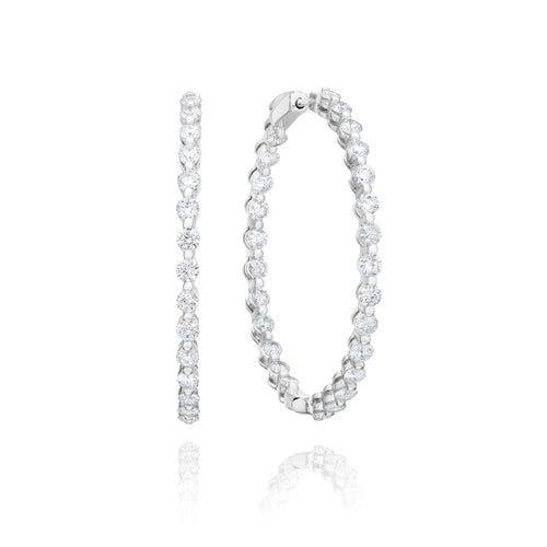 18kt White Gold Mode Diamond Hoop Earrings ,[product vendor],JewelStreet