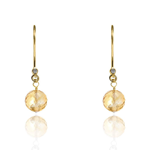 18kt Gold Drop Earrings In Yellow Topaz - November Birthstone ,[product vendor],JewelStreet