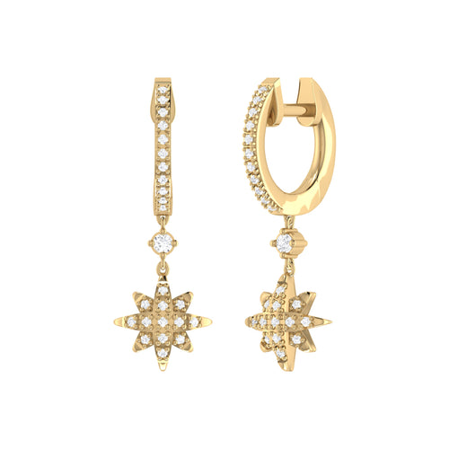 14kt Yellow Gold Plated North Star Hoop Earrings ,[product vendor],JewelStreet