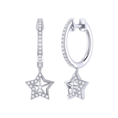 Lucky Star Hoop Earrings in Sterling Silver ,[product vendor],JewelStreet