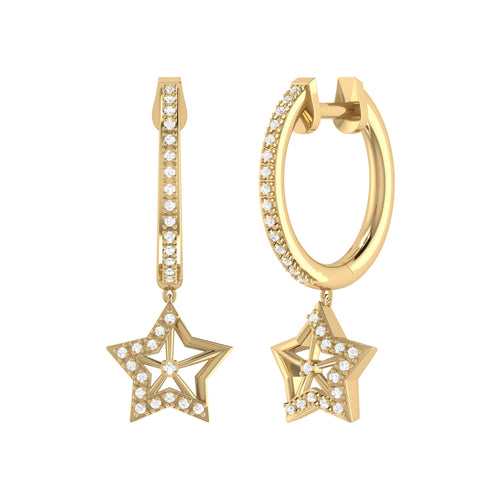 14 KT Yellow Gold Plated Lucky Star Hoop Earrings ,[product vendor],JewelStreet