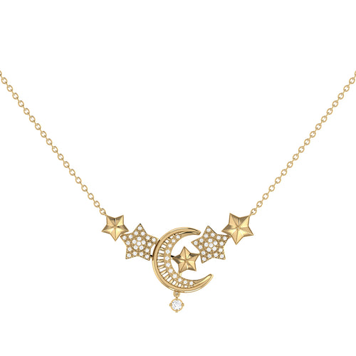 Yellow Gold Plated Star Cluster Crescent Necklace ,[product vendor],JewelStreet