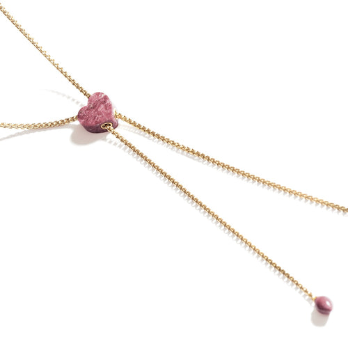 Luv Me Yellow Thulite Adjustable Heart Necklace ,[product vendor],JewelStreet
