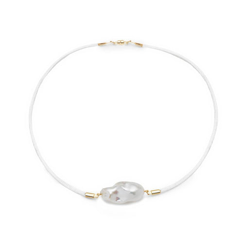 Baroque Freshwater Pearl & Satin Choker - Gold ,[product vendor],JewelStreet