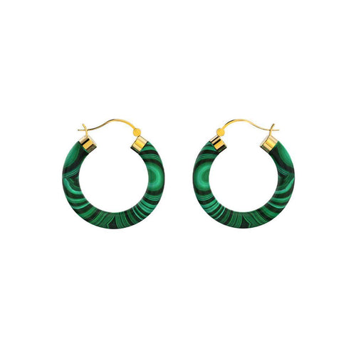 Yellow Gold Plated Sterling Silver Malachite Earrings ,[product vendor],JewelStreet