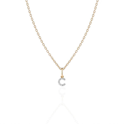 Monogram Mini Diamond Necklace Gold ,[product vendor],JewelStreet