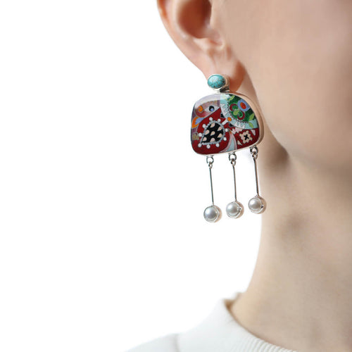 Sterling Silver Nature Fusion Earrings with Turquoise and Pearls ,[product vendor],JewelStreet