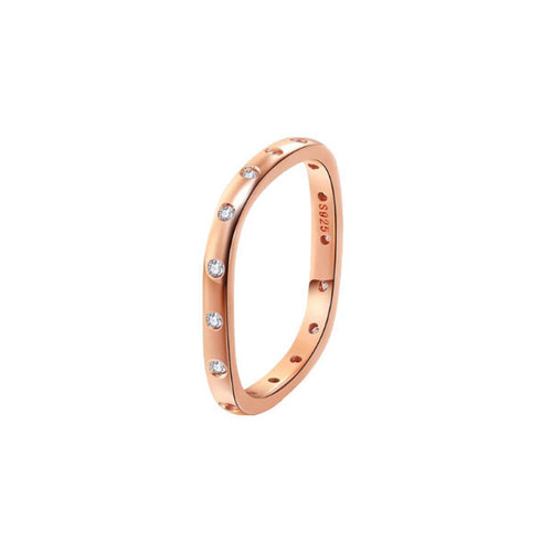 Rose Gold Vermeil Stacking Ring With Diamonds ,[product vendor],JewelStreet