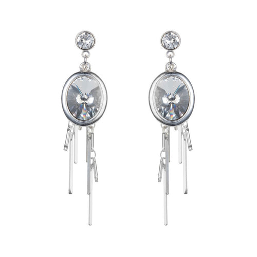 Silver Crystal Oval Cluster Earrings ,[product vendor],JewelStreet