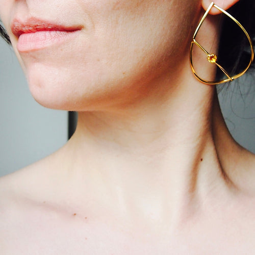 Gold Plated Silver Teardrop Earrings With Yellow Citrine  ,[product vendor],JewelStreet