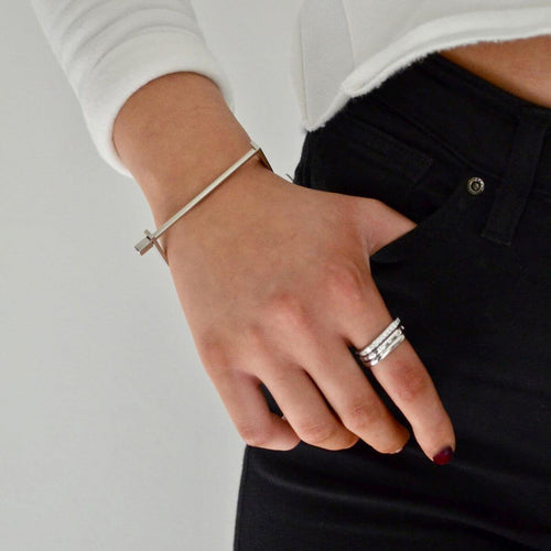 Silver Slim Screw Cuff Bracelet ,[product vendor],JewelStreet