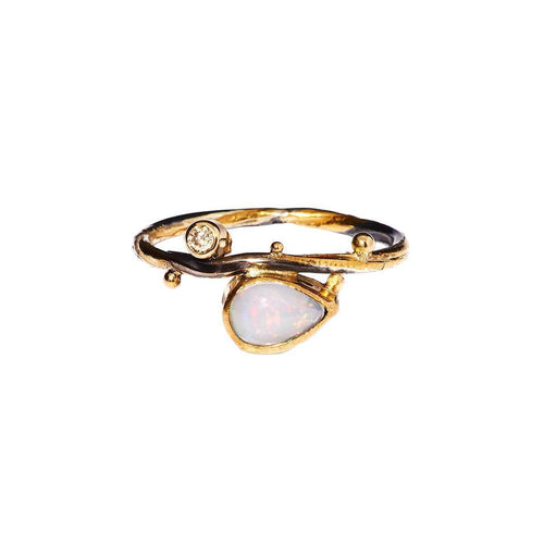 Gold Seafire Ring With Champagne Diamond & Opal | Bergsoe ,[product vendor],JewelStreet