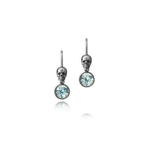 18kt White Gold Rhodium Plated Skull Earrings With Beryls ,[product vendor],JewelStreet