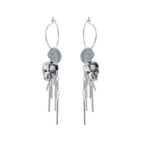 Sterling Silver Plated Chrome Skull Earrings ,[product vendor],JewelStreet
