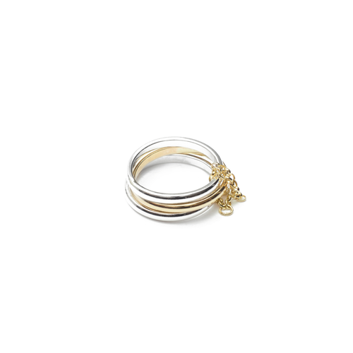 Sterling Silver & 9kt Gold Trio Ring ,[product vendor],JewelStreet