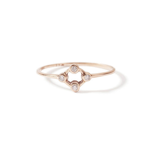 9kt Rose Gold Cluster Diamond Ring ,[product vendor],JewelStreet