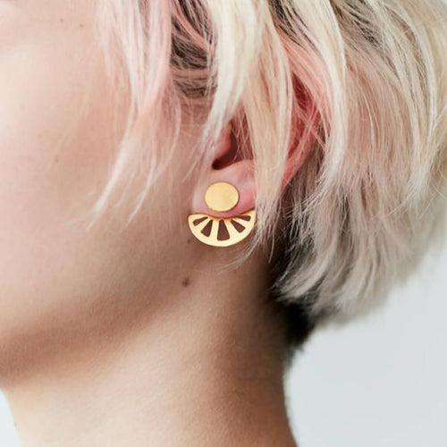 Yellow Gold Plated Lined Ray Disk Studs ,[product vendor],JewelStreet