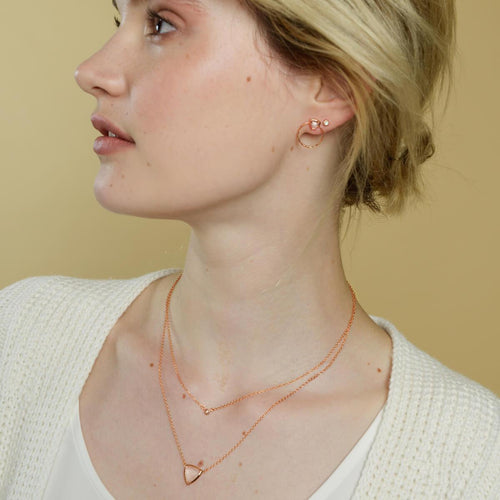 18kt Rose Gold Vermeil Trillion Necklace With Rose Quartz ,[product vendor],JewelStreet