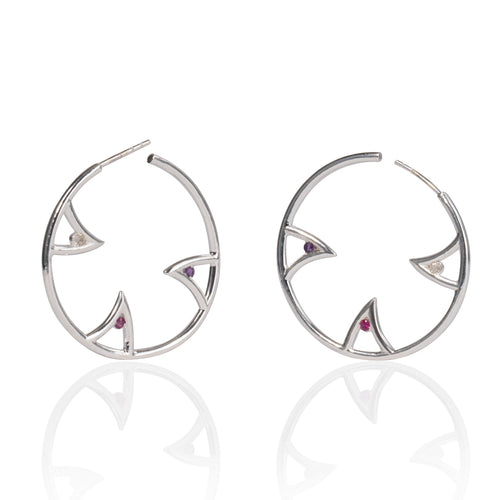 Sterling Silver Sharch Multi Colour Hoop Earrings   ,[product vendor],JewelStreet