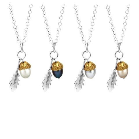 Medium Sterling Silver & 18kt Gold Vermeil Acorn Pendant ,[product vendor],JewelStreet