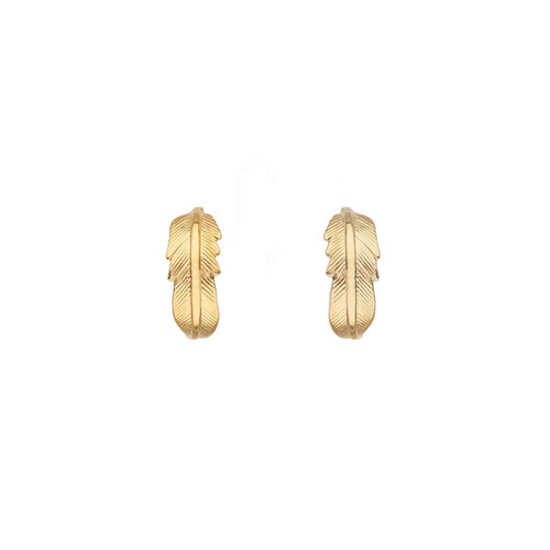 18kt Gold Plated Silver Feather Earrings  ,[product vendor],JewelStreet