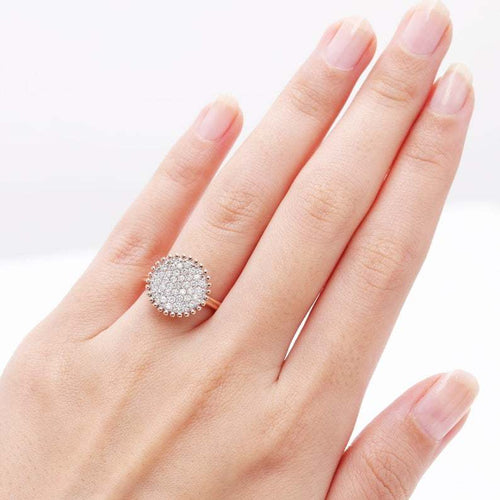 14kt Gold Full Diamond Pave Round Engagement Ring ,[product vendor],JewelStreet
