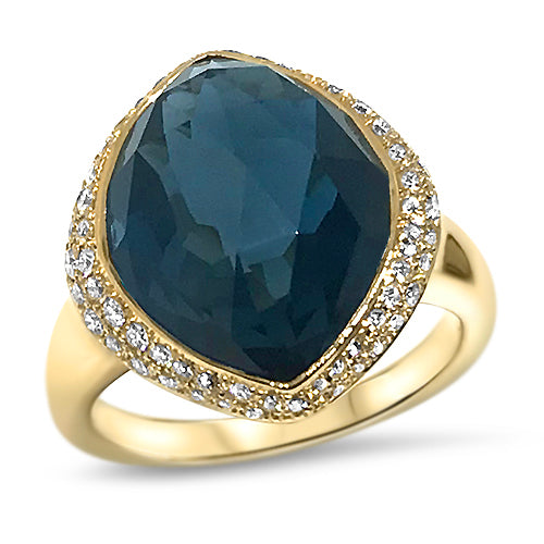 18kt Rose Gold Ring With Blue Topaz ,[product vendor],JewelStreet