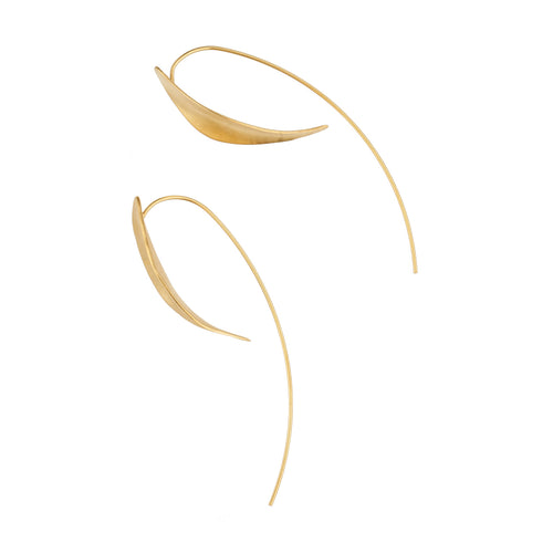 Gold Plated Organic Curved Gold Earrings ,[product vendor],JewelStreet