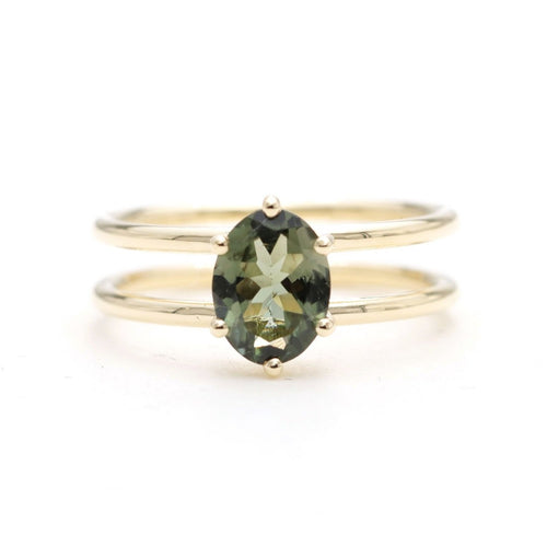 14kt Gold Solitaire Natural Green Sapphire Two-Band Engagement Ring ,[product vendor],JewelStreet