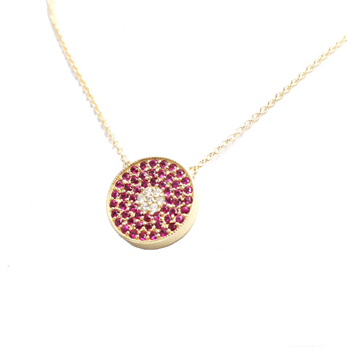 14kt Gold Natural Ruby & Diamond Pendant  ,[product vendor],JewelStreet