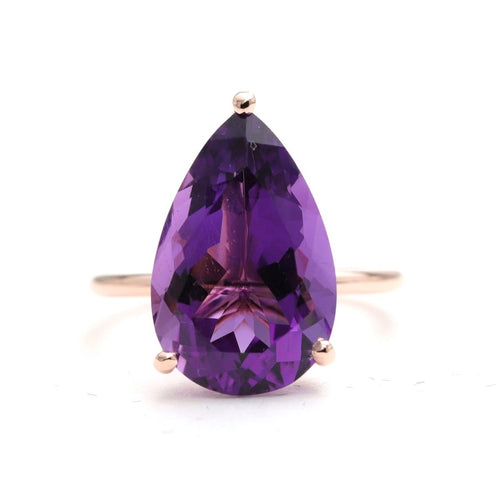 14kt Gold Purple Amethyst Solitaire Engagement Ring  ,[product vendor],JewelStreet