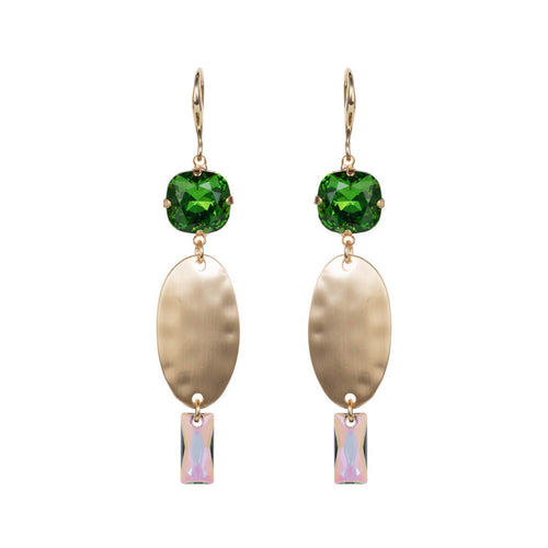 Fern Green Oval Textured Long Earrings ,[product vendor],JewelStreet