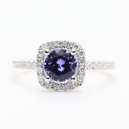 14kt White Gold Blue Tanzanite & Diamond Halo Engagement Ring ,[product vendor],JewelStreet