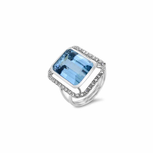 18kt White Gold Ring With Aquamarine & 36 Diamonds ,[product vendor],JewelStreet