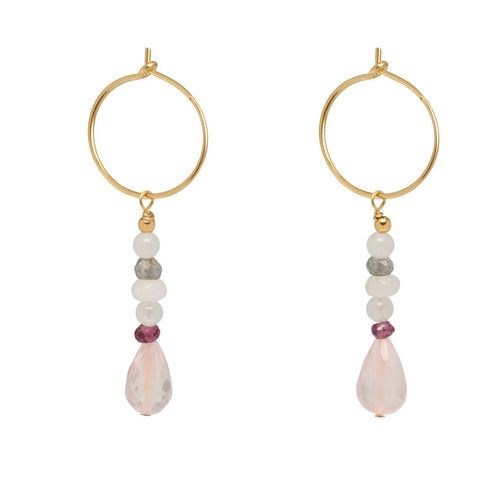Rose Quartz Drop Hoop Earrings ,[product vendor],JewelStreet