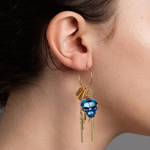 Yellow Gold Plated Metallic Blue Skull Earrings ,[product vendor],JewelStreet