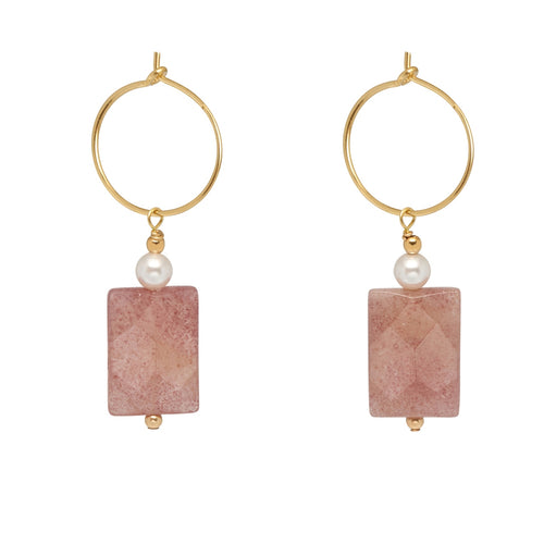Strawberry Quartz and Pearl Drop Hoop Earrings ,[product vendor],JewelStreet