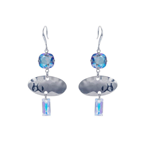 Sterling Silver Plated Oval Textured Blue Summer Earrings ,[product vendor],JewelStreet