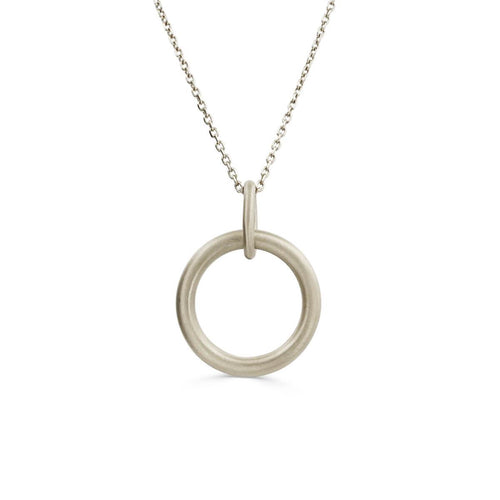 Yellow Gold Plated Hoop Necklace With Trace Chain