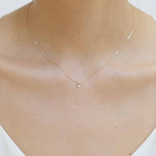 Yellow Gold Tiny Diamond Necklace
