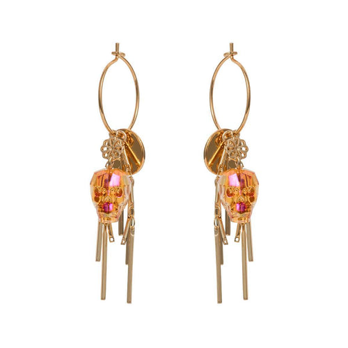Yellow Gold Plated Tangerine Skull Earrings ,[product vendor],JewelStreet