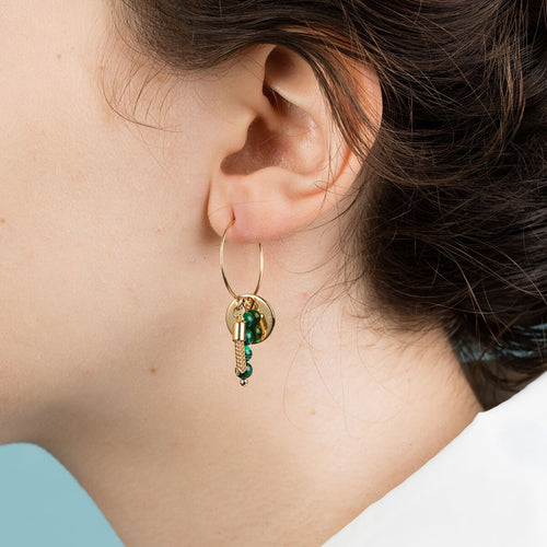 Yellow Gold Plated Malachite Minimalist Hoop Earrings
