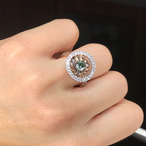 18kt Rose & White Gold (L)OVE Ring With Diamonds & Sapphires ,[product vendor],JewelStreet