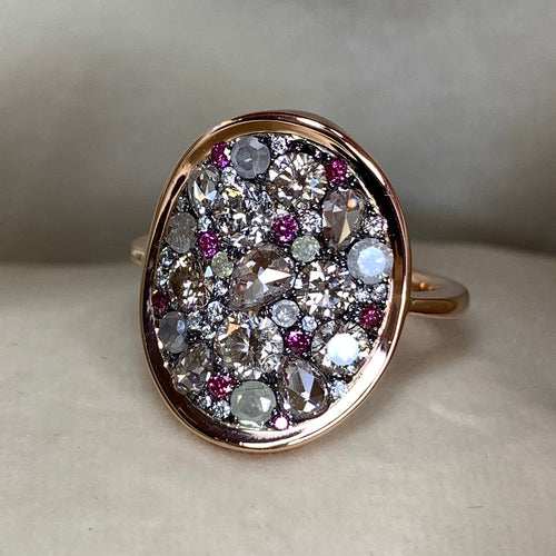 18kt Rose Gold & Blackened Silver Starstruck Ring With Diamonds ,[product vendor],JewelStreet