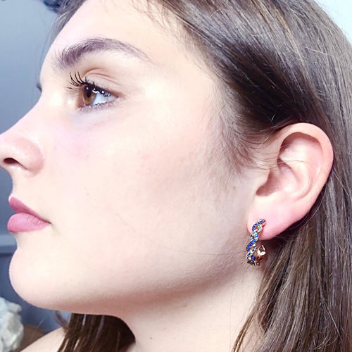 18kt Rose Gold Innervisions Hoop Earrings With Blue Sapphire & Diamonds ,[product vendor],JewelStreet