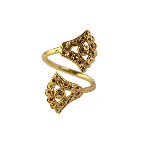 Yellow Gold Plated Double Sunshine Lotus Ring ,[product vendor],JewelStreet