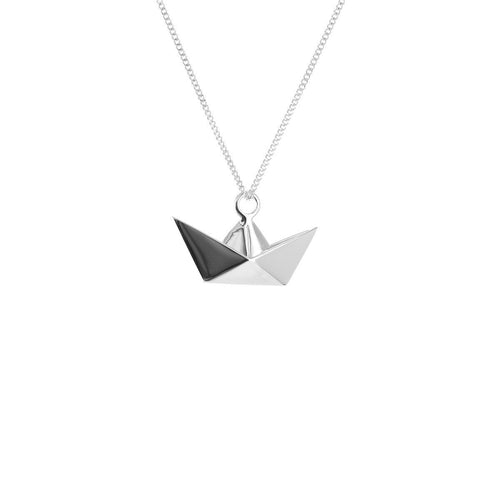 Sterling Silver Mini Boat Origami Necklace