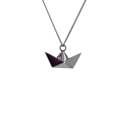 Black Silver Mini Boat Origami Necklace